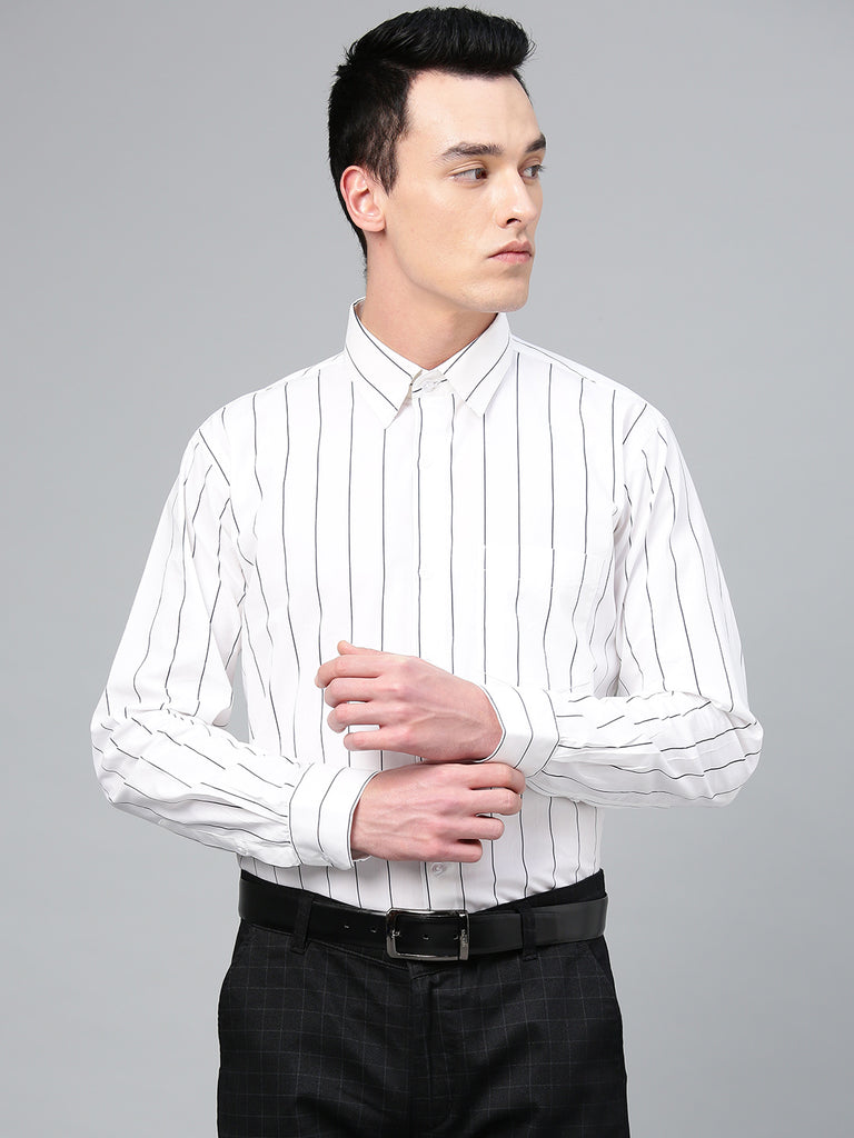Hancock Men White Pure Cotton Striped Slim Fit Formal Shirt