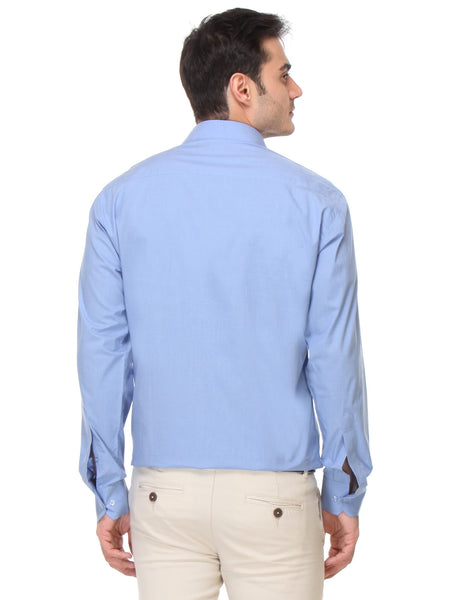 Hancock Sky Blue Regular Fit Solid Chambray Pure Cotton Formal Shirt