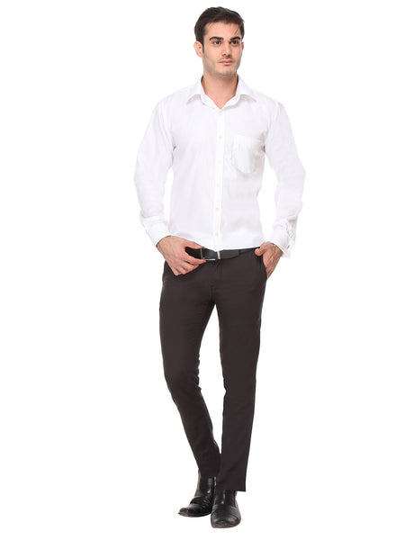 Hancock White Regular Fit Solid Dobby Pure Cotton Double Cuff Formal Shirt