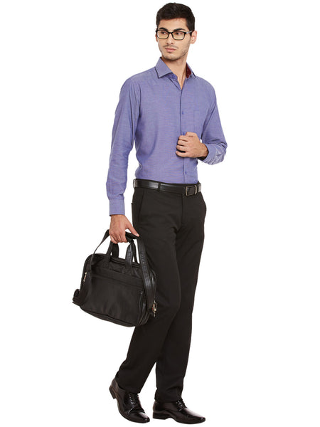 Hancock Blue Solid Pure Cotton Regular Fit Formal Shirt