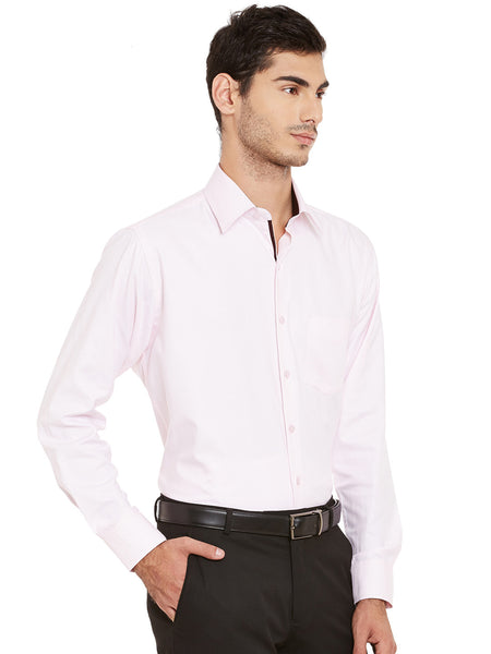 Hancock Pink Solid Pure Cotton Regular Fit Formal Shirt