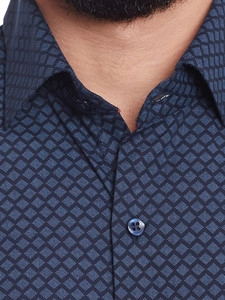 Hancock Navy Printed Pure Cotton Regular Fit Shirt