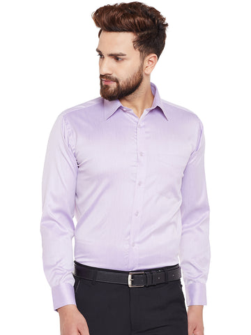 Hancock Purple Solid Regular Fit Formal Shirt