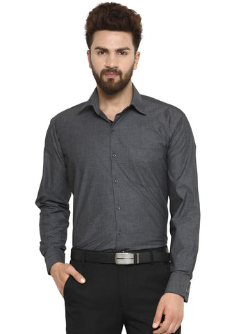 Hancock Charcoal Grey Chambray Pure Cotton Double Cuff Regular Fit Formal Shirt