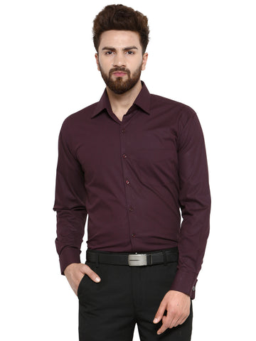 Hancock Maroon Chambray Pure Cotton Double Cuff Regular Fit Formal Shirt