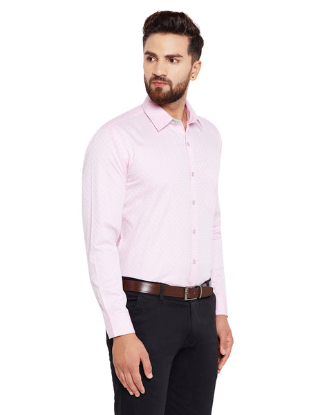 Hancock Pink Solid Regular Fit Pure Cotton Formal Shirt