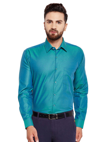 Hancock Green Solid Regular Fit Pure Cotton Formal Shirt