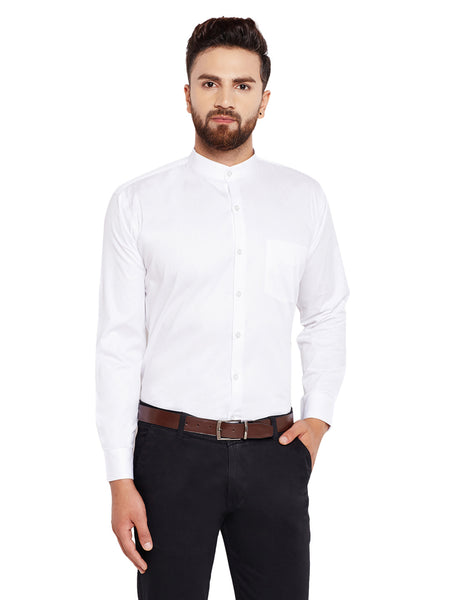 Hancock White Solid Slim Fit Pure Cotton Formal Shirt