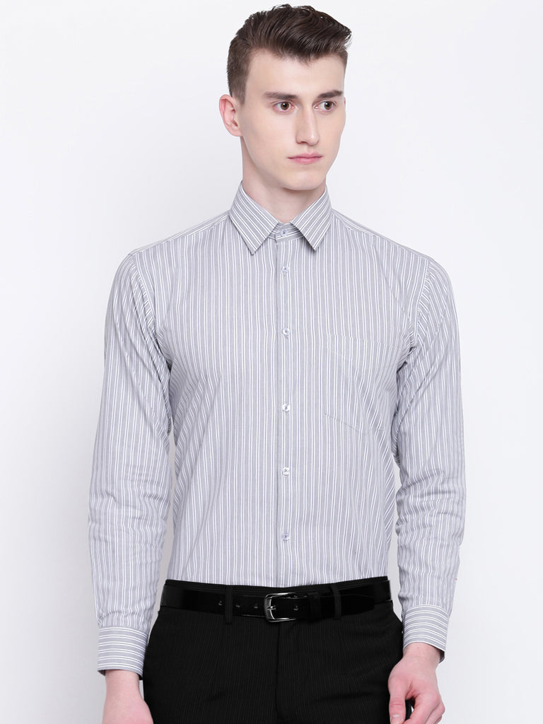 Hancock Men Grey Pure Cotton Stripes Slim Fit Formal Shirt