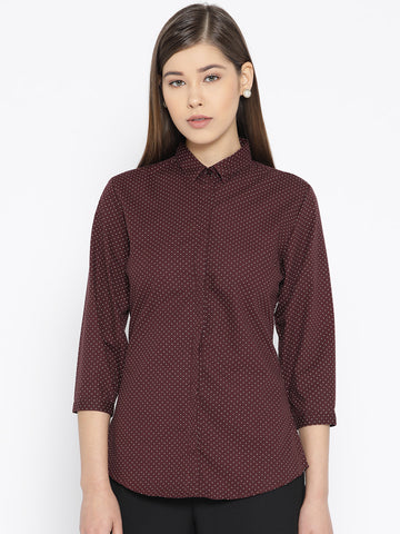 Hancock Women Maroon Pure Cotton Printed Slim Fit Formal Shirt