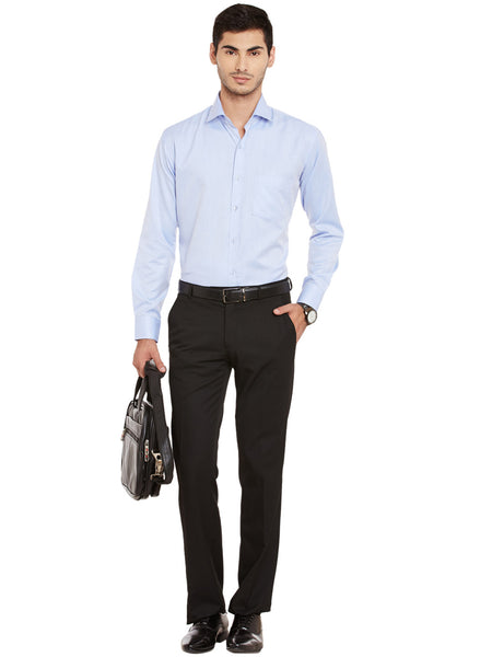 Hancock Blue Solid Cotton Rich Regular Fit Formal Shirt