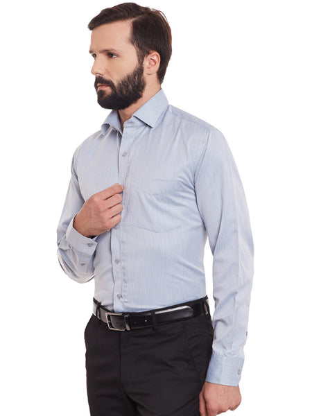 Hancock Grey Solid Cotton Rich Regular Fit Formal Shirt