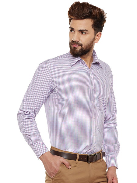 Hancock Purple Checked Regular Fit Formal Shirt