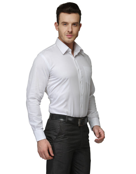 Hancock White Solid Pure Cotton Regular Fit Formal Shirt