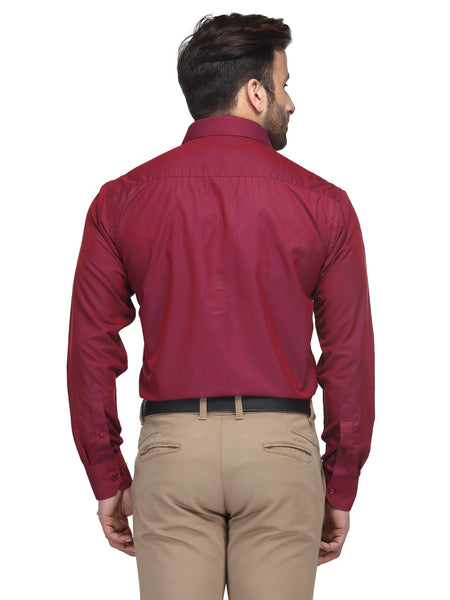 Hancock Maroon Regular Fit Solid Cotton Rich Formal Shirt