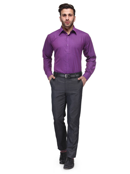Hancock Purple Regular Fit Solid Cotton Rich Formal Shirt