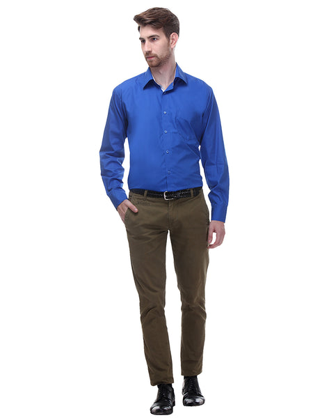 Hancock Blue Regular Fit Solid Pure Cotton Formal Shirt