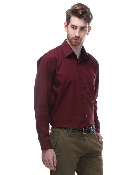 Hancock Maroon Regular Fit Solid Pure Cotton Formal Shirt