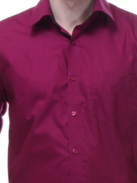 Hancock Wine Regular Fit Solid Pure Cotton Formal Shirt