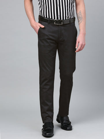 Hancock Men Black Cotton Checked Slim Fit Casual Trouser