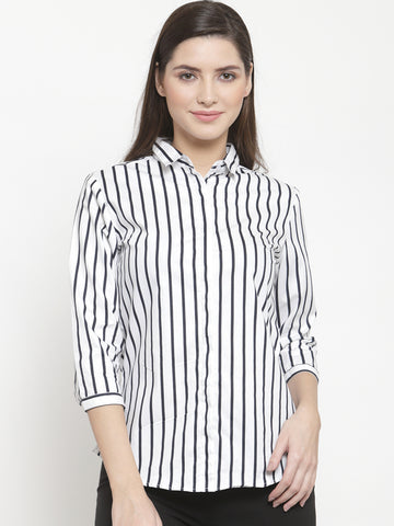 Hancock Women White Pure Cotton Striped Slim Fit Formal Shirt