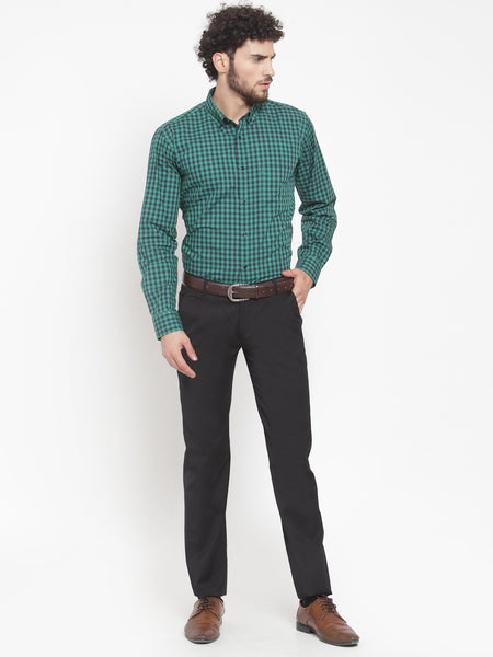Hancock Men Green Pure Cotton Checked Button Down Collar Slim Fit Formal Shirt
