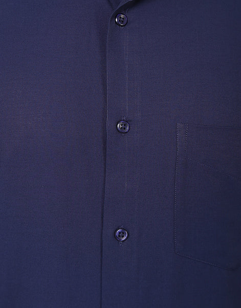 Hancock Navy Slim Fit Solid  Cotton Rich Formal Shirt