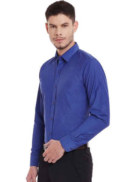 Hancock Navy Solid Chambray Slim Fit Formal Shirt