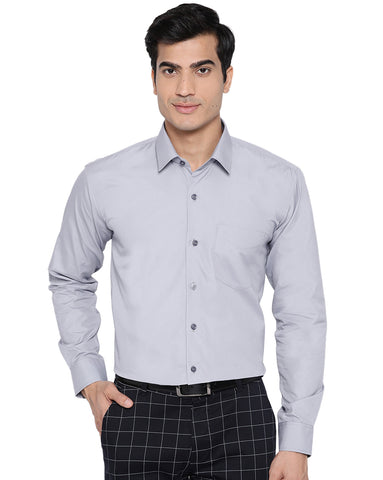 Hancock Men Grey Cotton Solid Slim Fit Formal Shirt