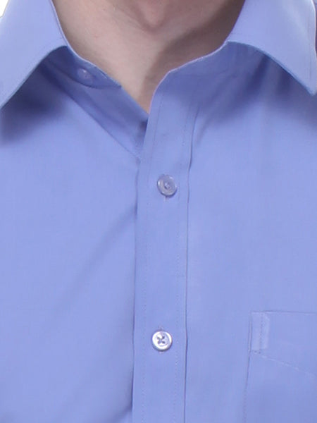 Hancock Blue Slim Fit Solid Cotton Rich Formal Shirt