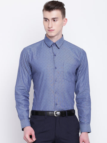 Hancock Men Blue Pure Cotton Printed Slim Fit Formal Shirt