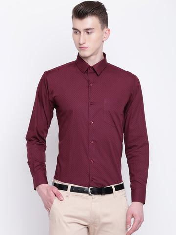 Hancock Men Maroon Pure Cotton Printed Slim Fit Formal Shirt