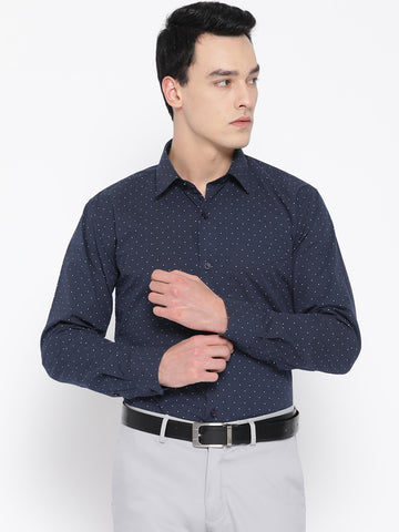 Hancock Men Navy Pure Cotton Printed Slim Fit Formal Shirt