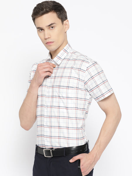 Hancock Men White Pure Cotton Checked Slim Fit Formal Shirt