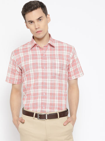 Hancock Men Coral Pure Cotton Checked Slim Fit Formal Shirt