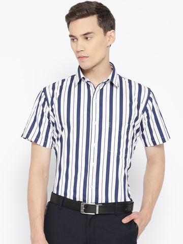 Hancock Men White & Navy Pure Cotton Striped Slim Fit Formal Shirt