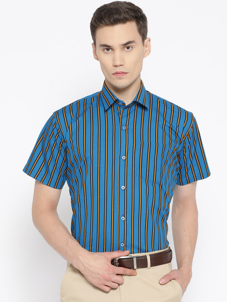 Hancock Men Blue & Yellow Pure Cotton Striped Slim Fit Formal Shirt