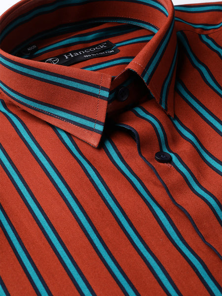 Hancock Men Rust & Green Pure Cotton Stripes Slim Fit Formal Shirt