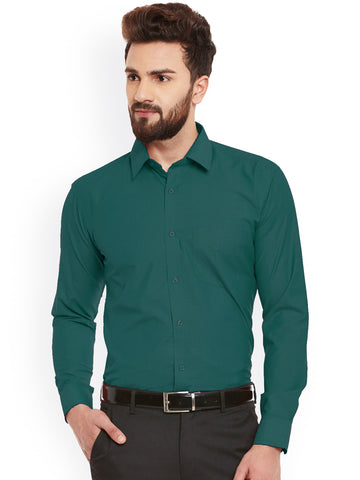 Hancock Green Fila Fil Pure Cotton Slim Fit  Formal Shirt