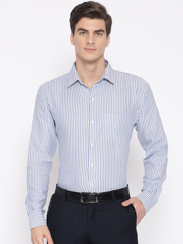 Hancock Men White & Blue Pure Cotton Striped Slim Fit Formal Shirt