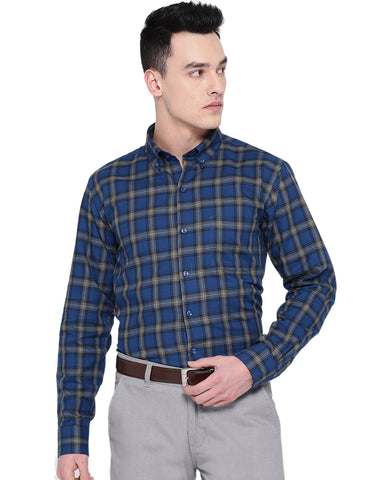 Hancock Men Blue Cotton Checked Slim Fit Formal Shirt