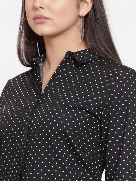 Hancock Women Black Pure Cotton Printed Slim Fit Formal Shirt