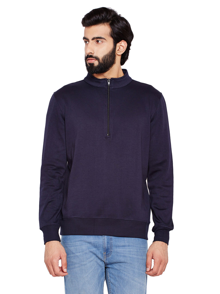 Hancock Navy Blue Solid Mandarin Collar Sweatshirt