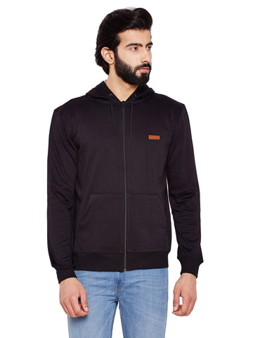 Hancock Black Solid Mandarin Collar Sweatshirt