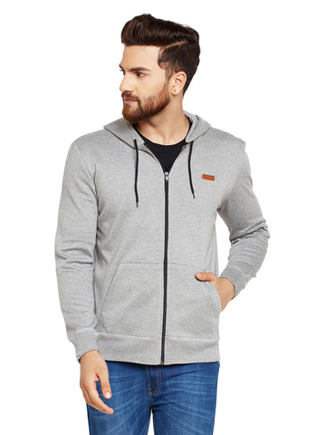 Hancock Grey Solid Hooded Sweatshirt
