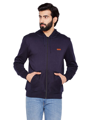 Hancock Navy Blue Solid Hooded Sweatshirt