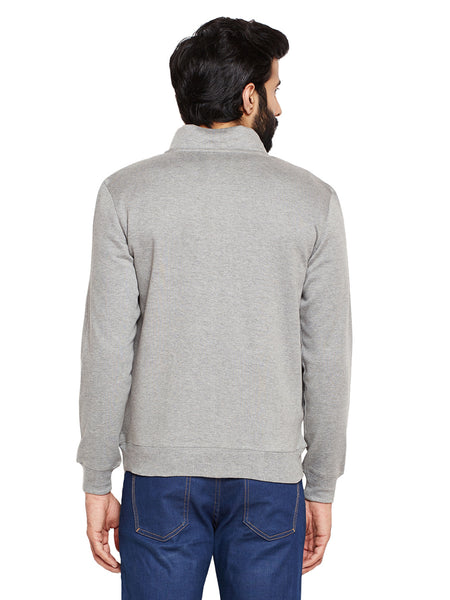Hancock Grey Solid Mandarin Collar Sweatshirt