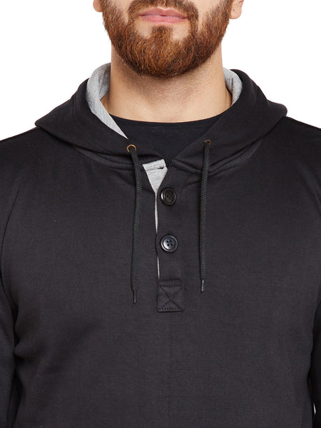 Hancock Black Solid Hooded Sweatshirt