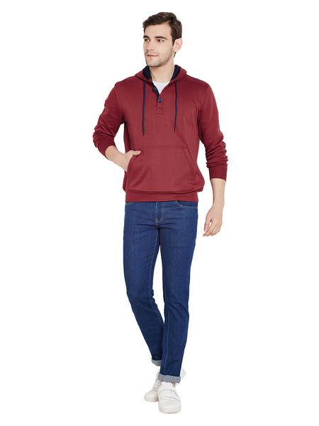 Hancock Maroon Solid Hooded Sweatshirt