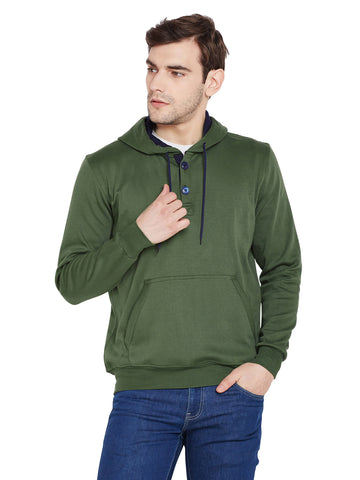 Hancock Olive Solid Hooded Sweatshirt